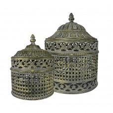 Conjunto de Caixas em Metal Raja - 2pçs Decoração
