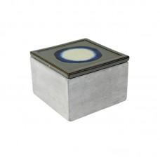 Pote Decorativo Stone P Quadrado Cinza 13,4x9cm Decoração