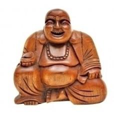 Buda Sentado em Madeira Teka Decoração