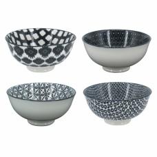 Conjunto Bowls de porcelana preto e branco 4 Pçs Mesa