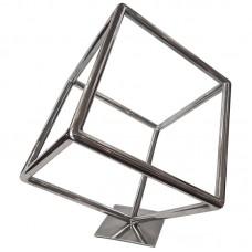 Escultura em Aço Inox Cubo - 29x34cm Decoração