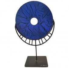 Escultura em Aço Medalhão Azul - 27x43cm Decoração