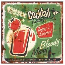 Placa Cocktail de Metal 30x30cm Decoração