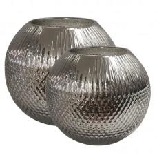 Conjunto de Vasos de Vidro Prata Decoração