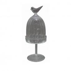 Pote de vidro redondo Bird M 9,5x27cm Decoração