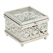 Caixa em Metal e Vidro Home&Co Loft Prata 10x10cm Decoração