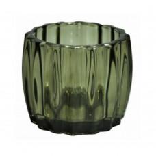 Castiçal de Vidro Verde 9x7cm Decoração
