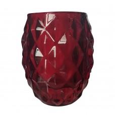 Castiçal de Vidro Vermelho 8x10cm Decoração