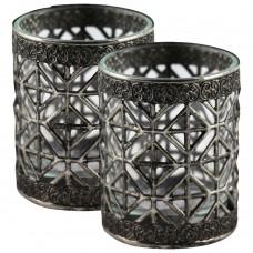 Castiçais de Vidro e Metal 6x7cm Decoração