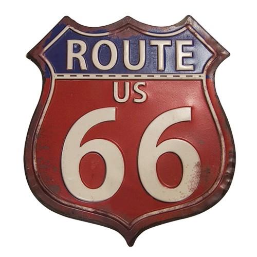 Placa Route 66 de Ferro 26x30cm Decoração