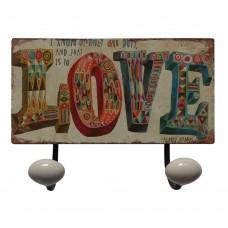 Placa Cabideiro Love de Metal 23x12cm Decoração