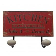 Placa Cabideiro Kitchen de Metal 23x12cm Decoração