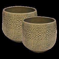 Conjunto de Cachepots de Cerâmica Verde 02 pçs Decoração