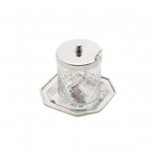 Açucareiro 10x9cm aço inox e vidro Mesa