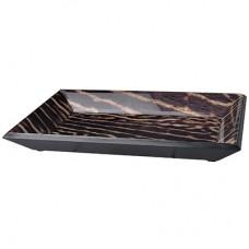 Bandeja em madeira e vidro Safari 30x20x4cm Decoração