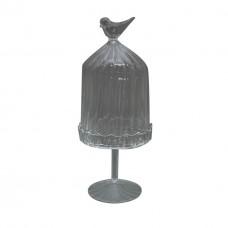 Pote de vidro oval Bird G 10x32cm Decoração