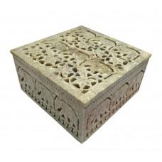 Caixa em Pedra Bege 15cmx15cmx8cm Decoração