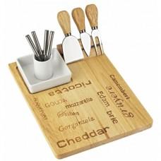 Tábua p/ queijo c/ molheira e conjunto de facas 30cmx22cm Mesa